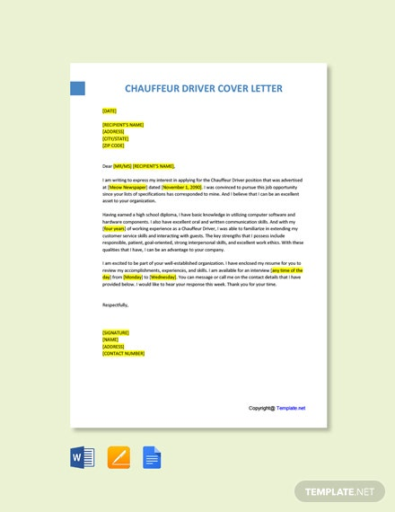 Free Chauffeur Driver Cover Letter Template