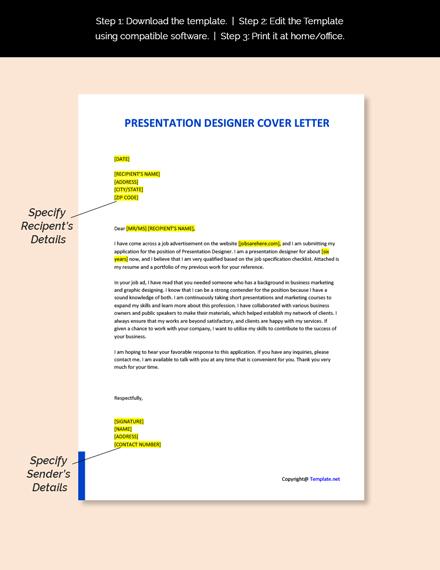 Presentation Designer Cover Letter Template