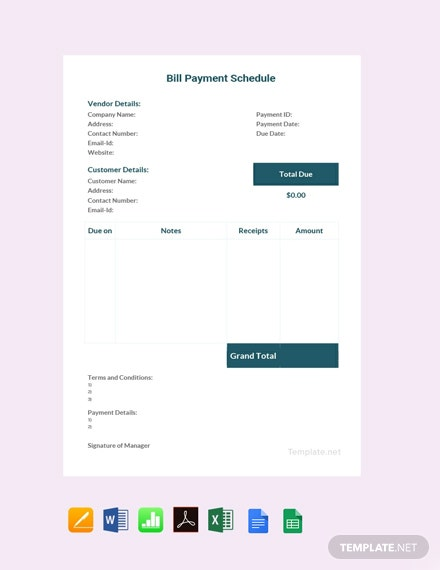 FreeBillPaymentScheduleTemplate