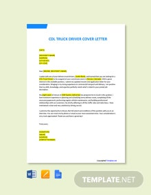 Free CDL Truck Driver Cover Letter Template