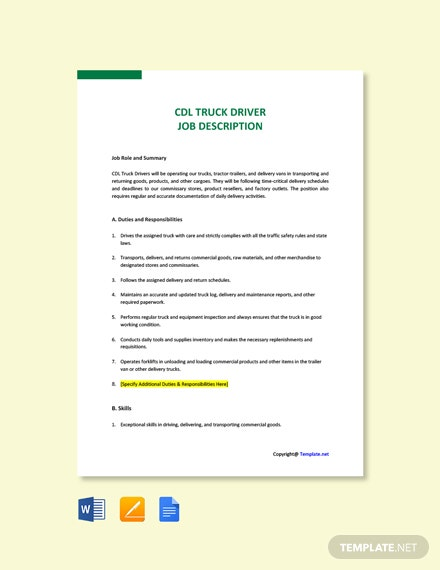 Free CDL Truck Driver Job Ad and Description Template
