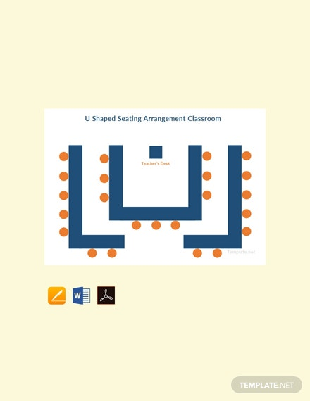 Free U Shaped Seating Arrangement Classroom Template
