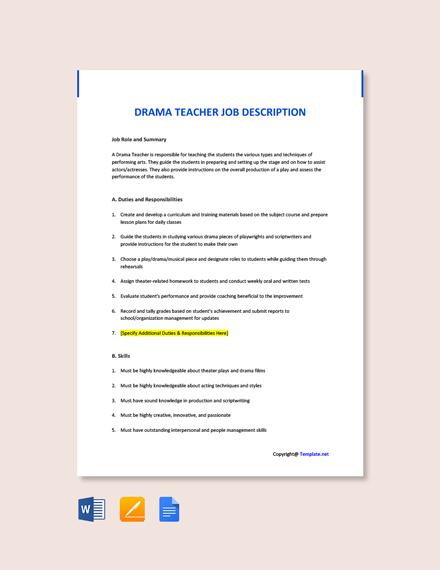 Free Drama Teacher Job Ad and Description Template