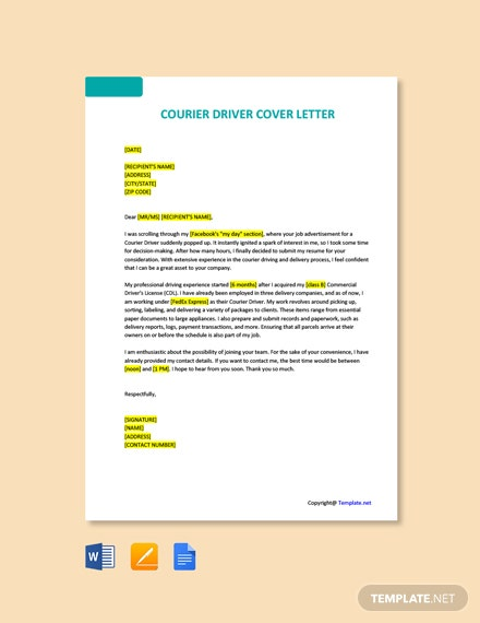 Free Courier Driver  Cover letter Template