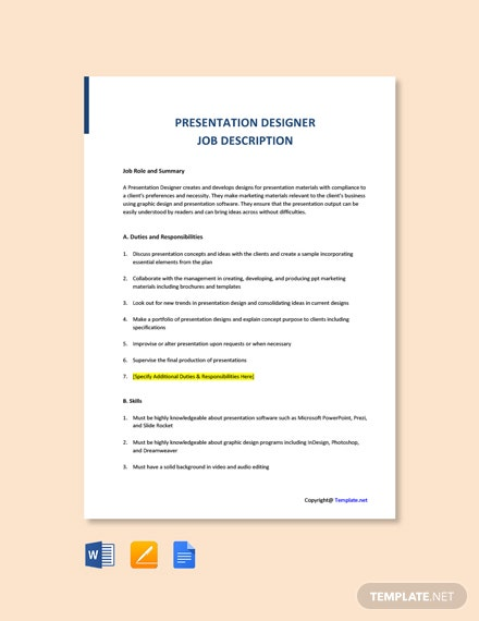 Free Presentation Designer Job Description Template