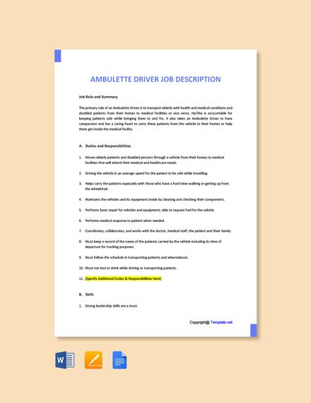 Free Ambulette Driver Job Ad and Description Template