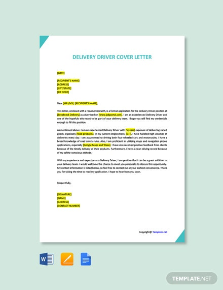 Free Delivery Driver Cover Letter Template