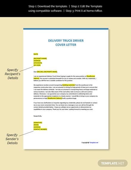 Delivery Truck Driver  Cover Letter Template