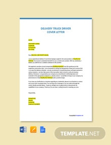 Free Delivery Truck Driver Cover Letter Template