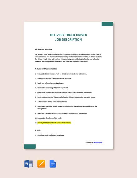 Free Delivery Truck Driver Job Description Template