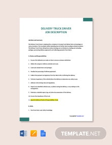 Free Delivery Truck Driver Job Description Template