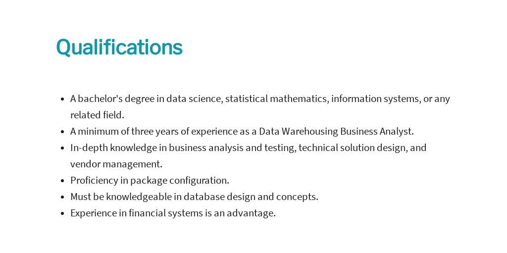 Free Data Warehousing Business Analyst Job Ad/Description Template 5.jpe