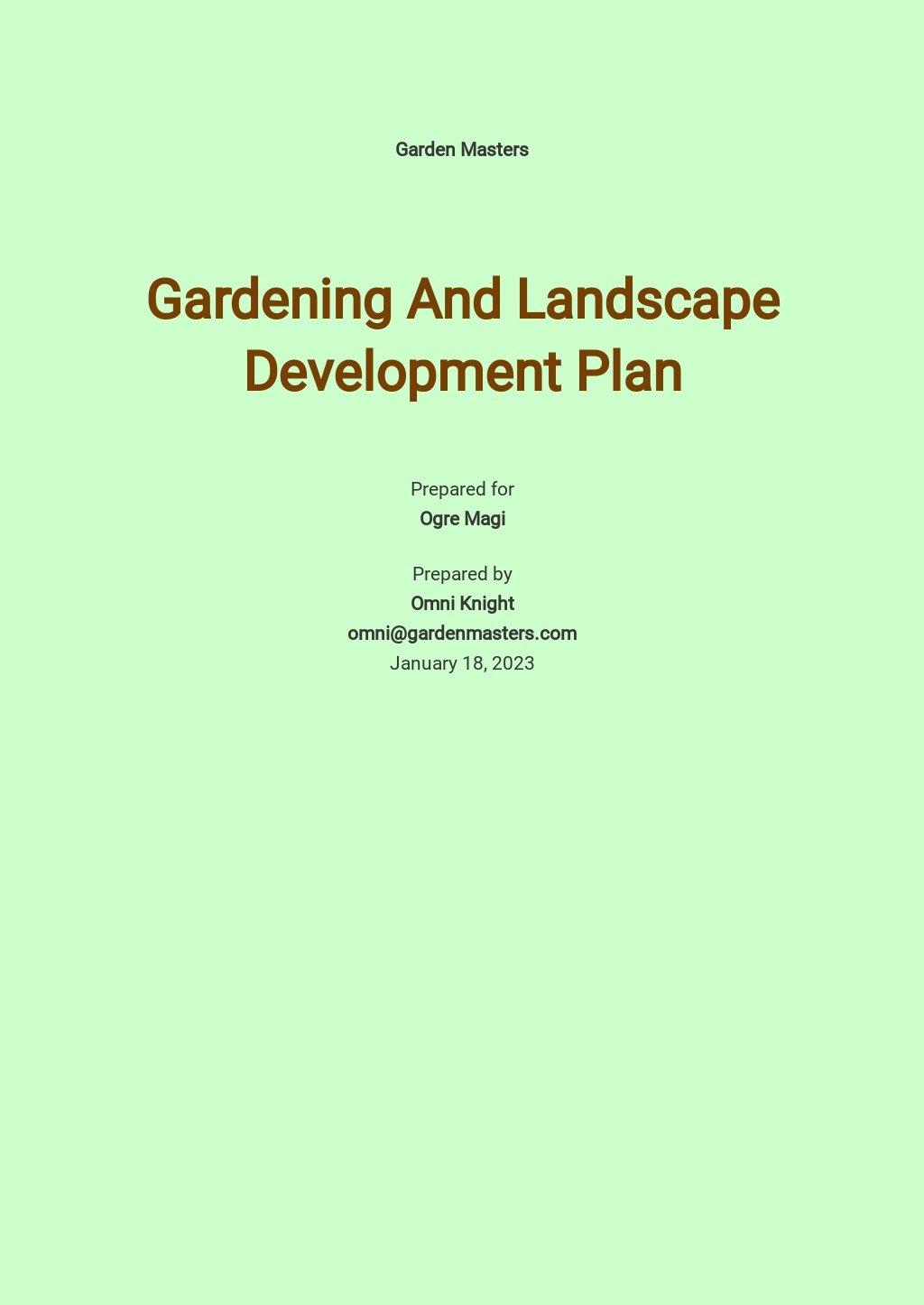 Gardening And landscape Development Plan Template