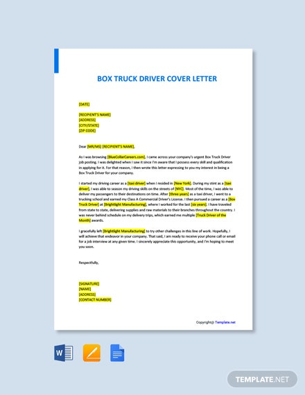 Box Truck Driver Cover Letter