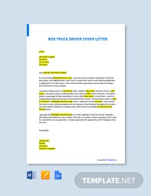 Free Box Truck Driver Cover Letter Template