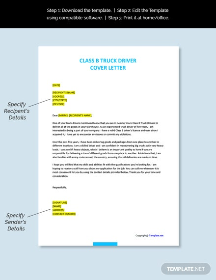 Class B Truck Driver Cover Letter Template