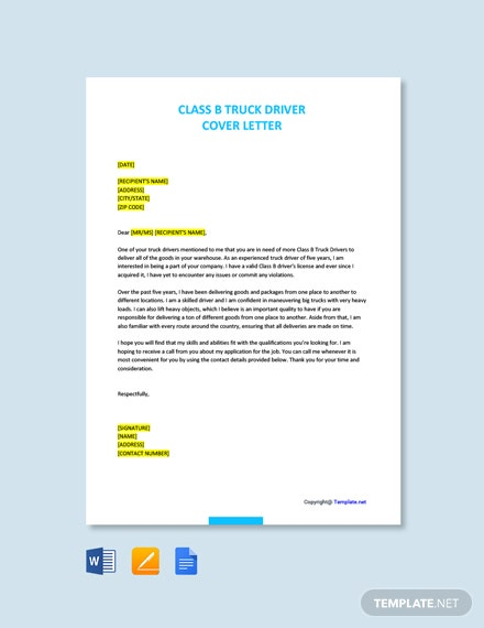 Class B Truck Driver Cover Letter
