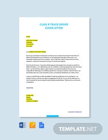 Free Class B Truck Driver Cover Letter Template