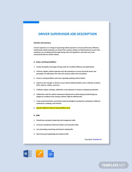 Free Driver Supervisor Job Ad/Description Template