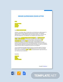 Free Driver Supervisor Cover Letter Template