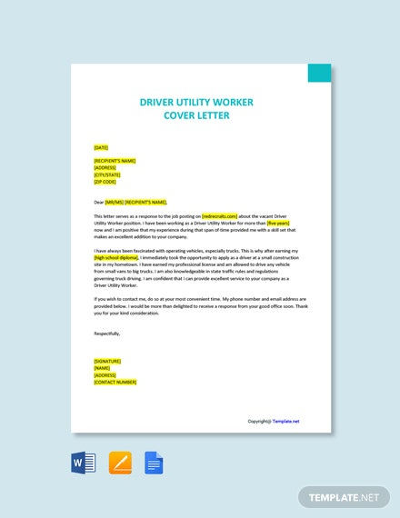 Free Driver Utility Worker Cover Letter Template