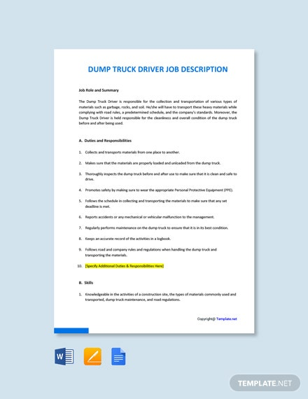 Free Dump Truck Driver Job Ad/Description Template