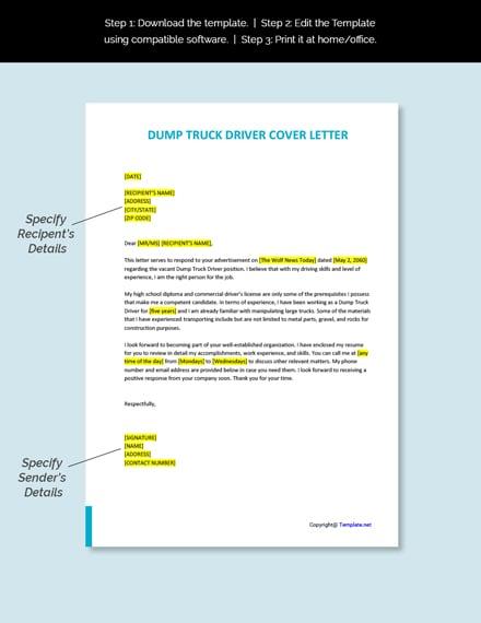 Dump Truck Driver Cover Letter Template