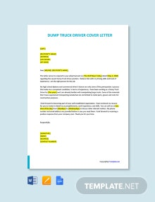 Free Dump Truck Driver Cover Letter Template