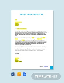 Free Forklift Driver Cover Letter Template