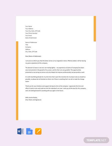 free heartfelt resignation letter template download 700 letters in
