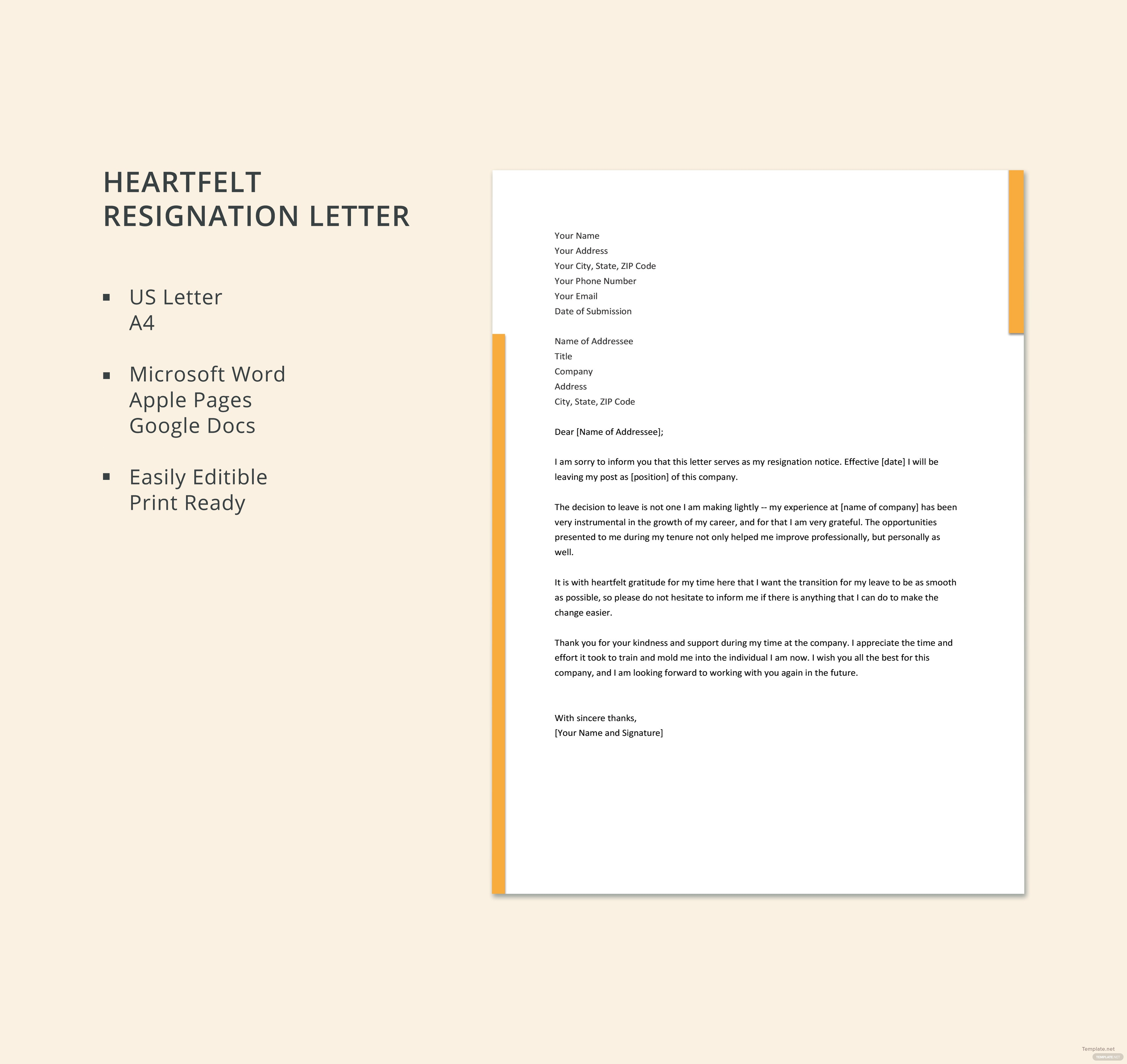 Free heartfelt resignation letter template in microsoft word apple free heartfelt resignation letter template spiritdancerdesigns Gallery