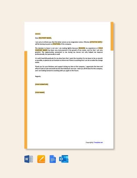 Free Heartfelt Resignation Letter Template