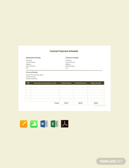 Free Contract Payment Schedule Template