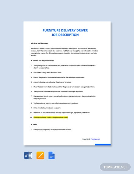 Free Furniture Delivery Driver Job Description Template