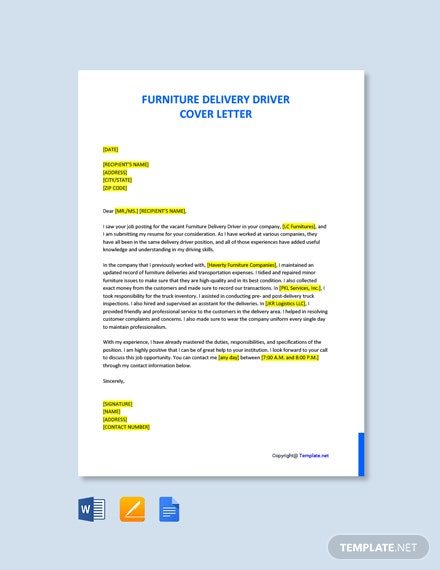 Free Furniture Delivery Driver Cover Letter Template
