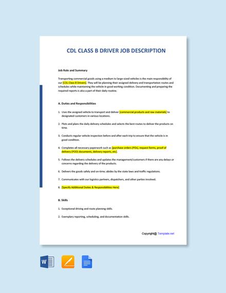 Free CDL Class B Driver Job Description Template