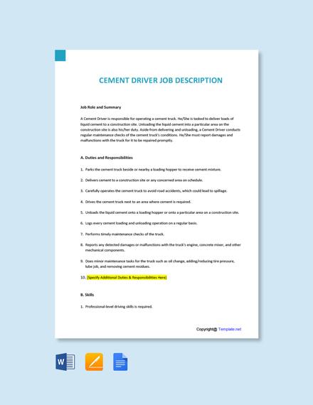 Free Cement Driver Job Description Template