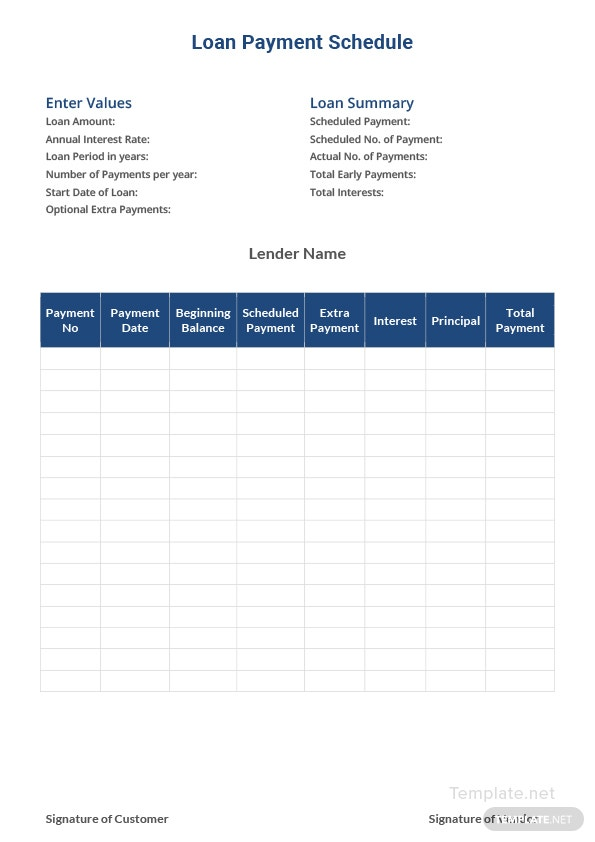 loan payment schedule template in microsoft word  excel