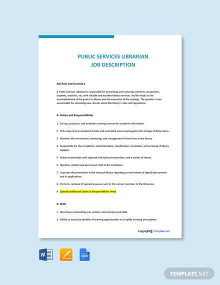 Free Public Services Librarian Job Description Template