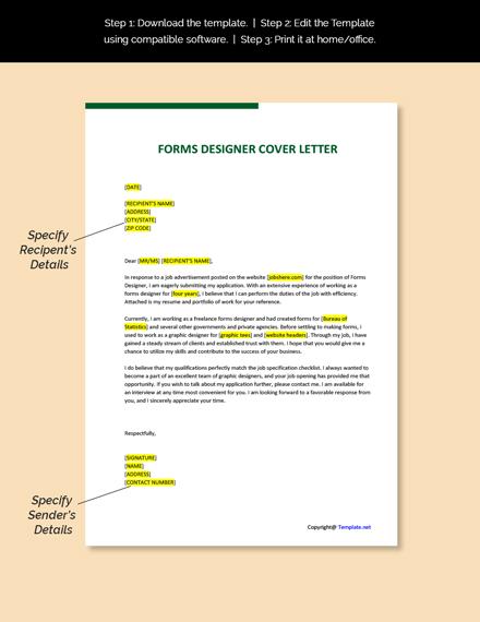 Forms Designer Cover Letter Template