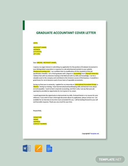 Free Graduate Accountant Cover Letter Template