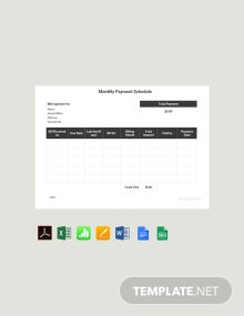 Free Monthly Payment Schedule Template