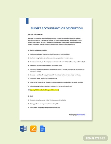 Free Budget Accountant Job Ad and Description Template