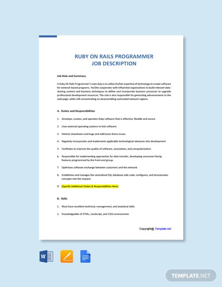 Free Ruby On Rails Programmer Job Description Template