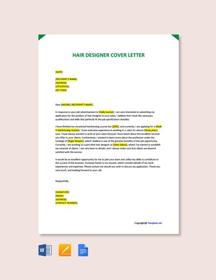 Free Hair Designer Cover Letter Template