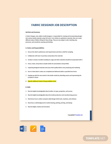 Free Fabric Designer Job Description Template