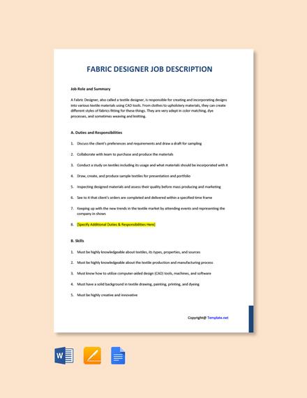 Free Fabric Designer Job Ad and Description Template