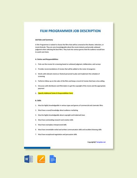 Free Film Programmer Job Ad and Description Template
