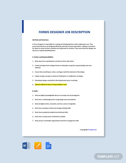 Free Forms Designer Job Ad and Description Template