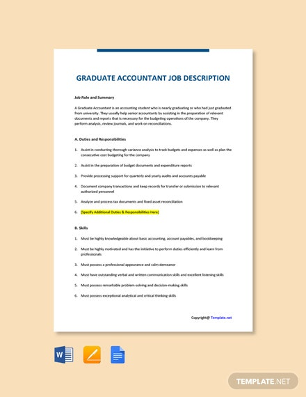 Free Graduate Accountant Job Ad and Description Template